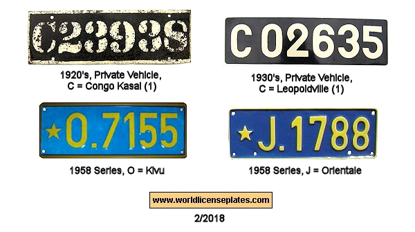 Belgian Congo License Plates