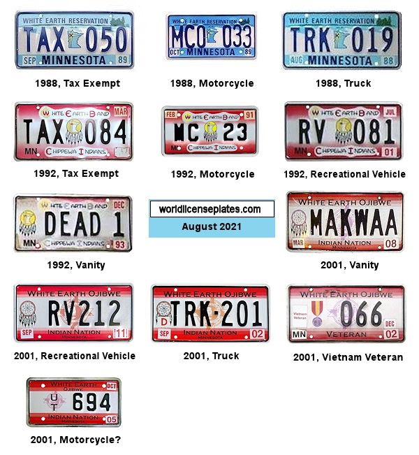 License Plates of the White Earth Band of Chippewa