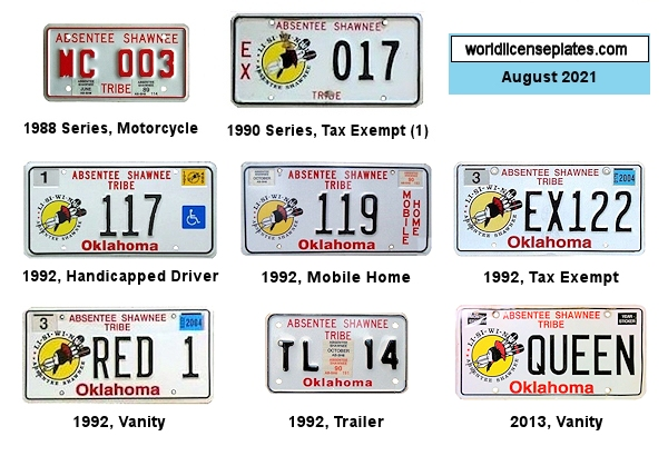 License Plates of the Absentee Shawnee Tribe