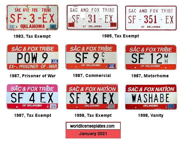 License Plates of the Sac and Fox Nation