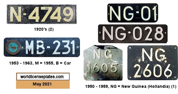 Netherlands New Guinea License Plates