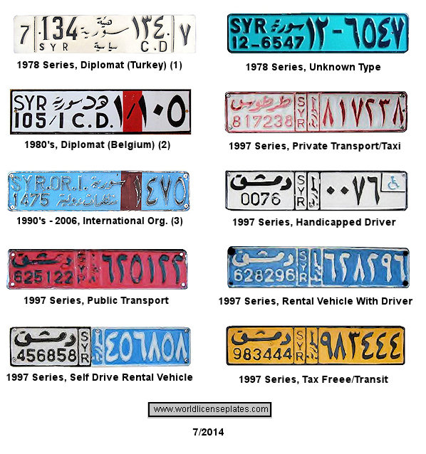 Syria License Plates