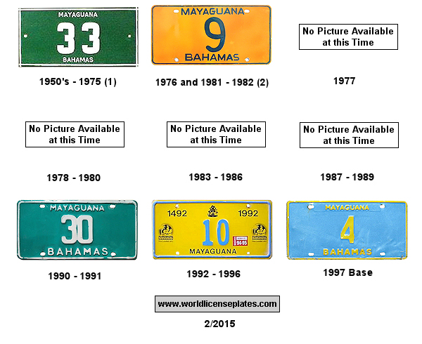 Mayaguana License Plates