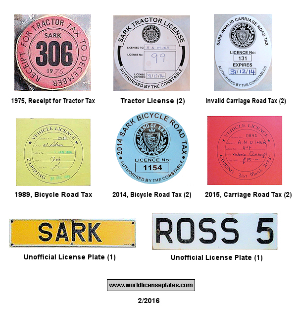Sark Tax Disks and Unofficial Plates