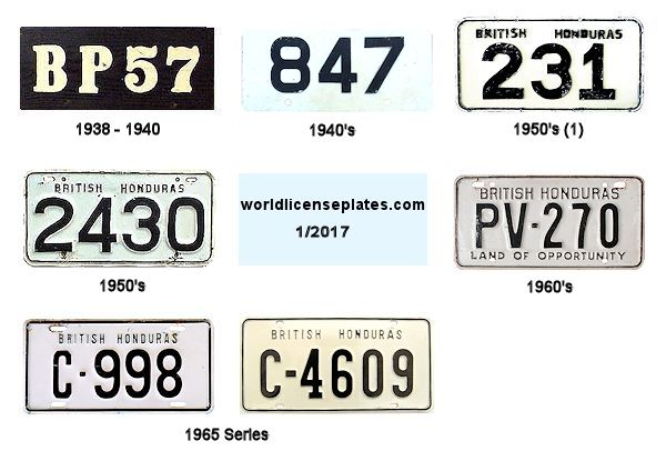 British Honduras License Plates
