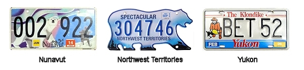 Canadian Territory License Plates