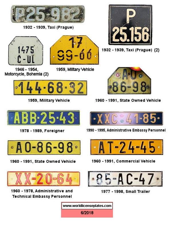 Czechoslovakia License Plates