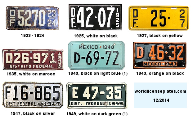 Federal District Plates 1920's - 1940's