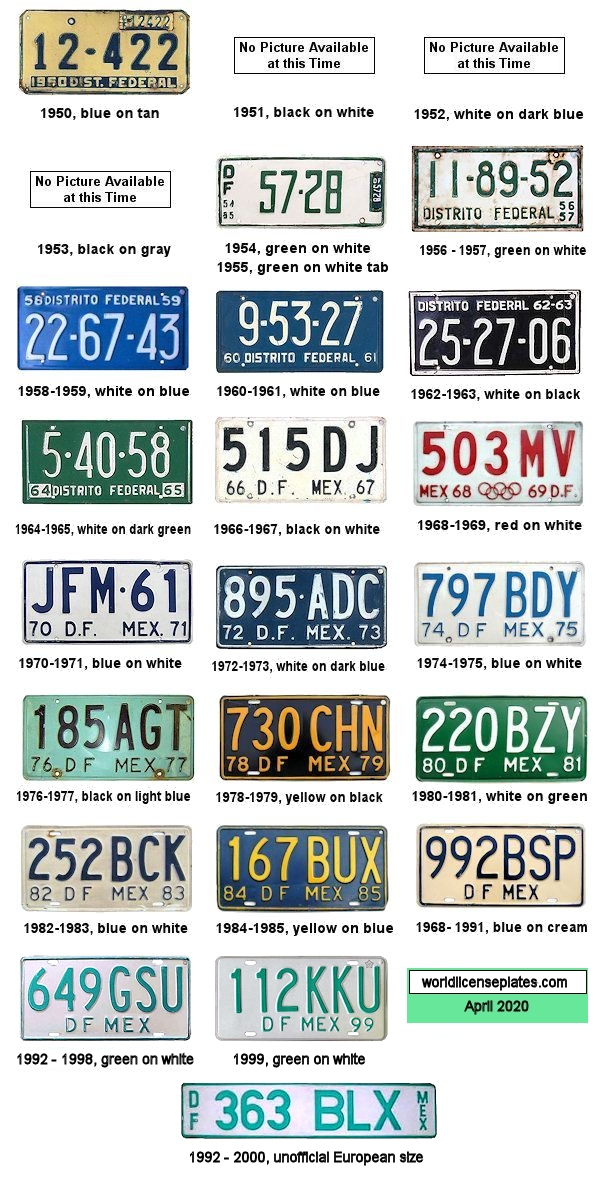 Federal District Plates 1950's - 1990's