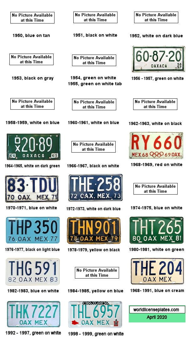 Oaxaca License Plates 1950's - 1990's