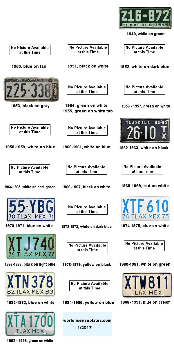 Tlaxcala License Plates 1950's - 1990's