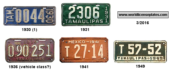 Tamaulipas License Plates 1930's - 1940's