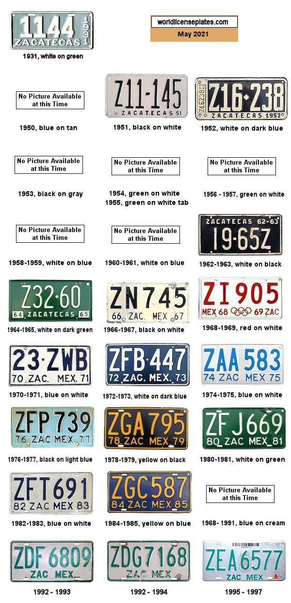 Zacatecas License Plates 1950's - 1990's
