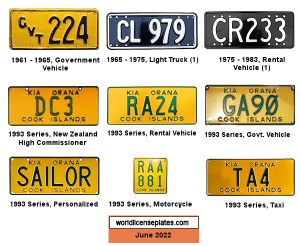 Cook Islands License Plates