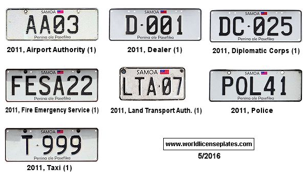 Samoan License Plates