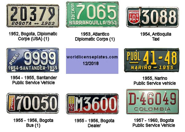 Colombian License Plates