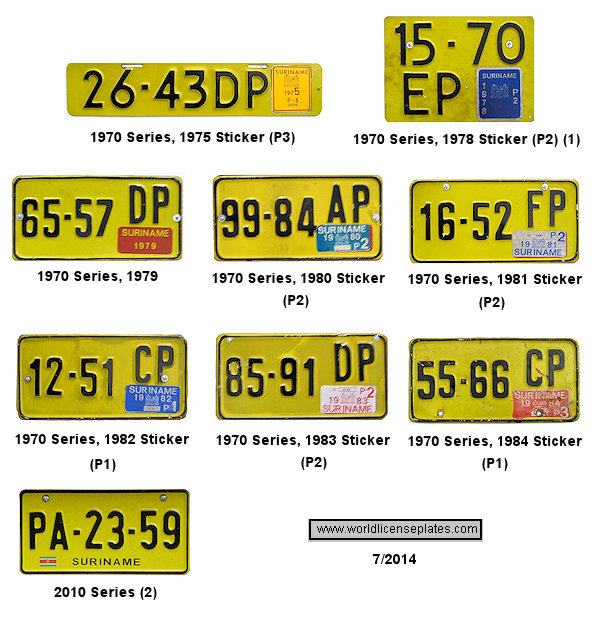 Suriname License Plates