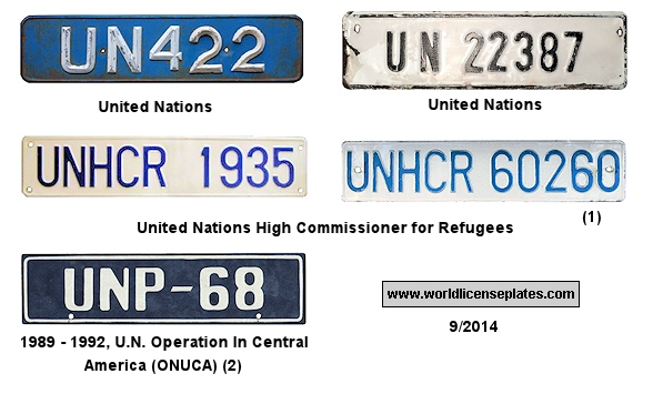 United Nations License Plates